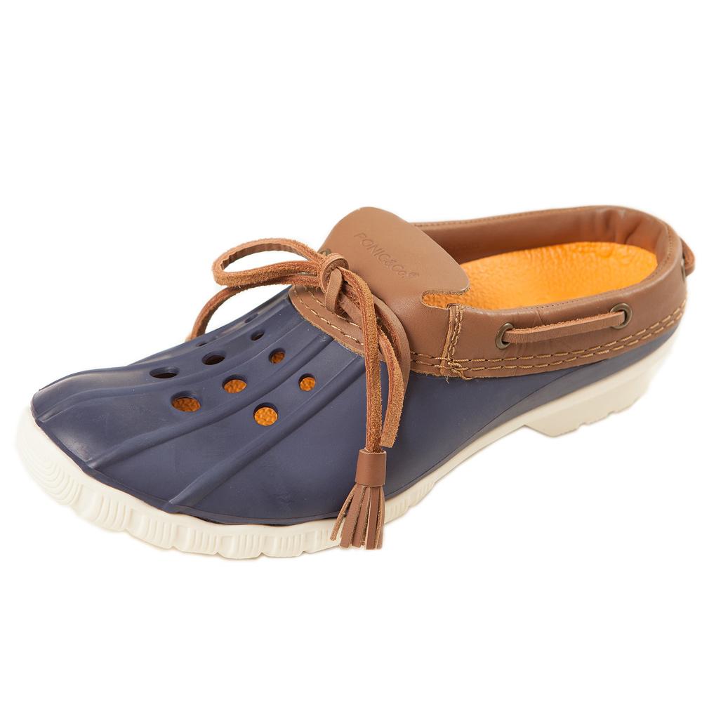 (男/女)Ponic&Co美國加州環保防水洞洞半包式拖鞋-海軍藍