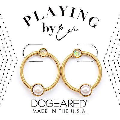 Dogeared 珍珠耳環 X 月光石耳環 金色圈圈耳環 細緻百搭