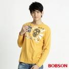 BOBSON 男款髏骷印圖長袖上衣(黃30)