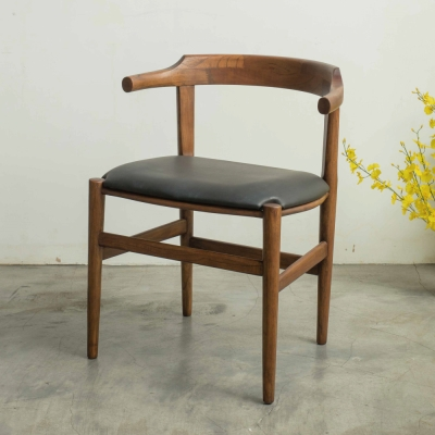 杰諾家居-坎特尼亞柚木實木餐椅-黑色-51x41x