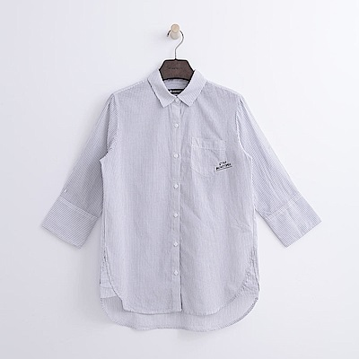Hang Ten - 女裝 - 條紋七分袖襯衫-灰色