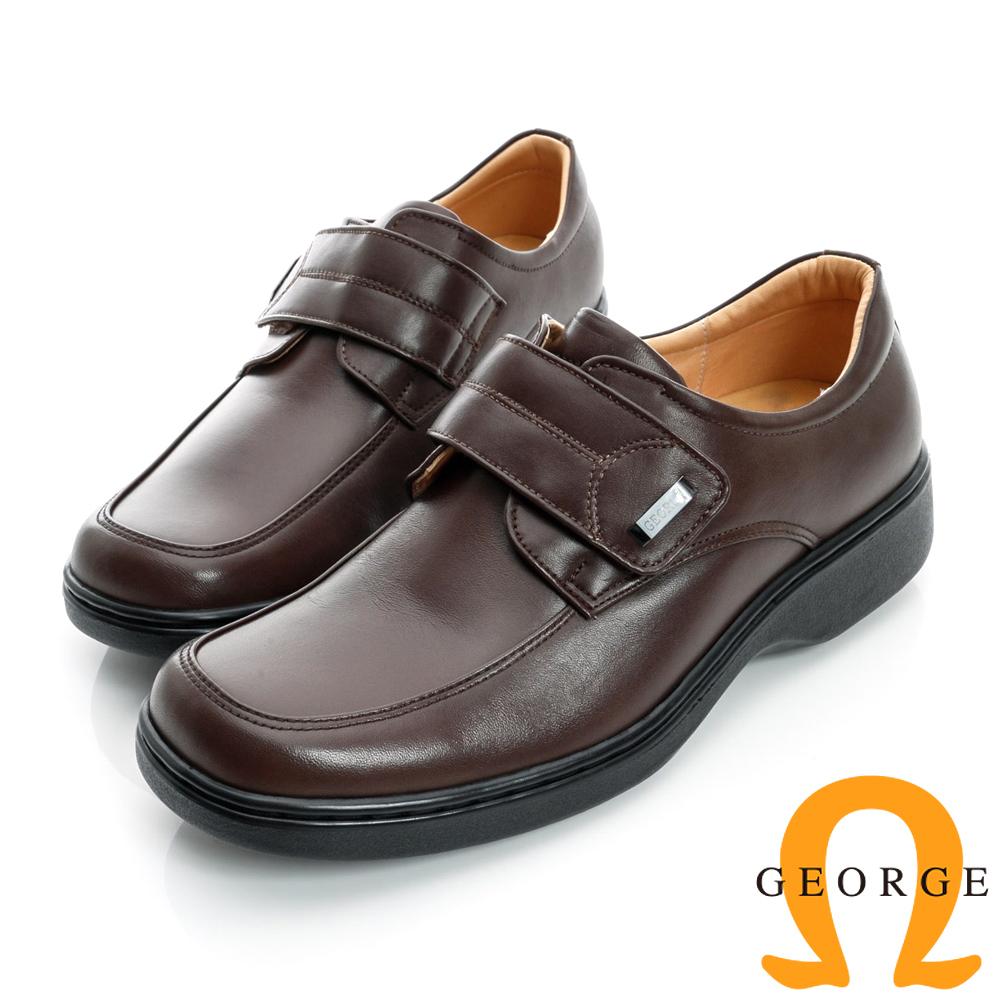 GEORGE-魔鬼沾厚底面料真皮方頭鞋-咖啡色