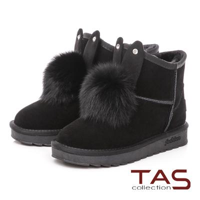 TAS 兔耳造型水鑽毛球麂皮雪靴-溫暖黑