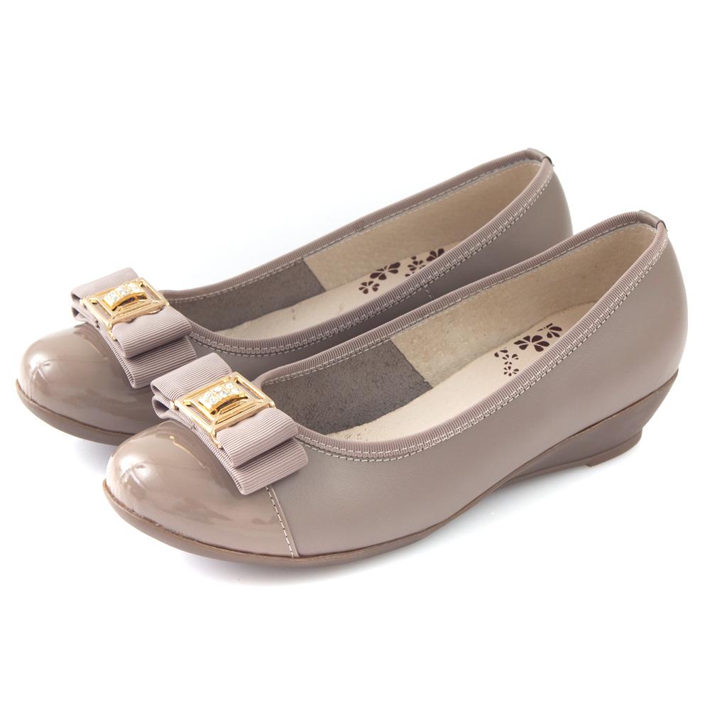 G.Ms.  MIT系列-全真皮鑽飾織帶蝴蝶結小坡跟鞋-可可灰