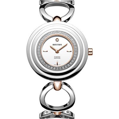 RHYTHM日本麗聲 同心圓晶鑽手鍊女錶-白x銀/34mm L1302S04