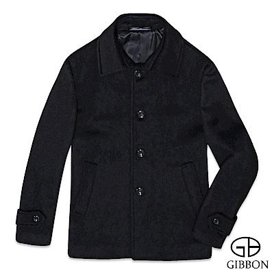 GIBBON 羊毛大衣外套極簡舒適‧黑色