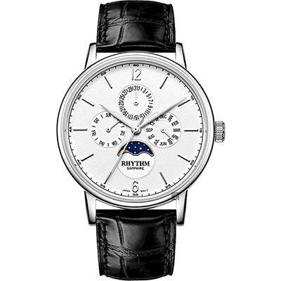RHYTHM 日本麗聲 都會時尚日月相日期手錶-白x黑/42mm