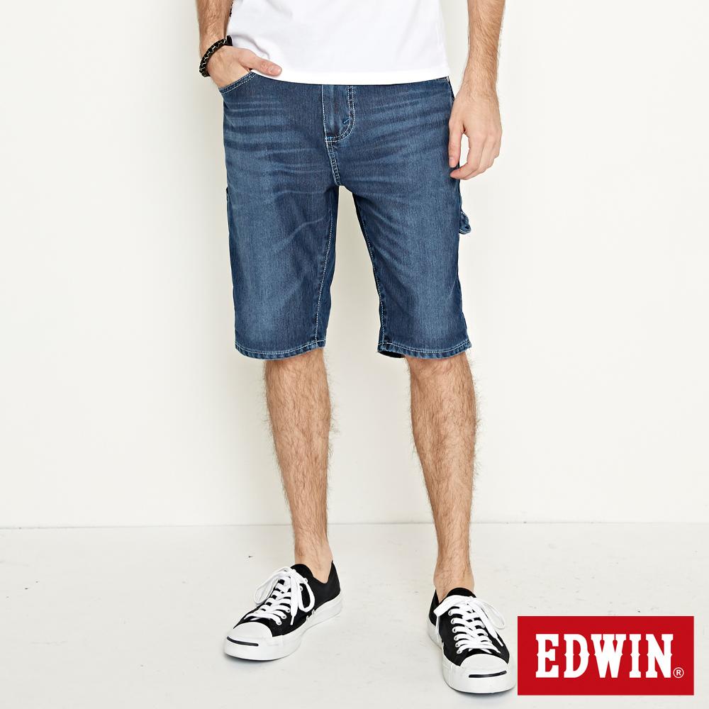 EDWIN 加大碼迦績褲JERSEYS角袋工作短褲-男-石洗綠