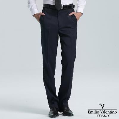 Emilio Valentino 范倫提諾彈力條紋平面西褲-丈青
