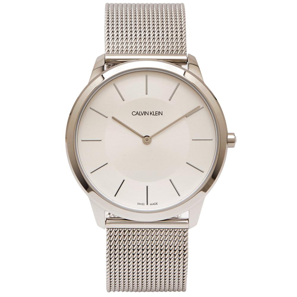 CK Calvin Klein 時髦風銀色米蘭帶手錶(K3M2T126)-銀面/43mm