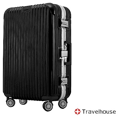 Travelhouse 爵世風華 29吋PC鋁框鏡面行李箱(黑)