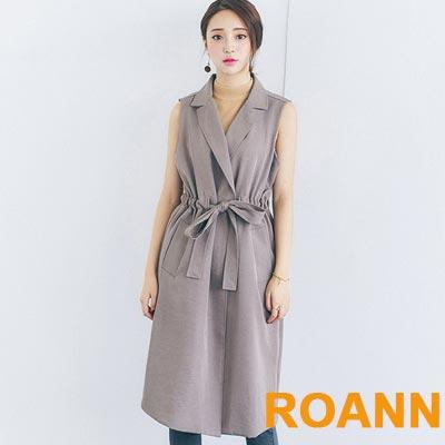 兩件套蝴蝶結繫腰風衣 (共二色)-ROANN