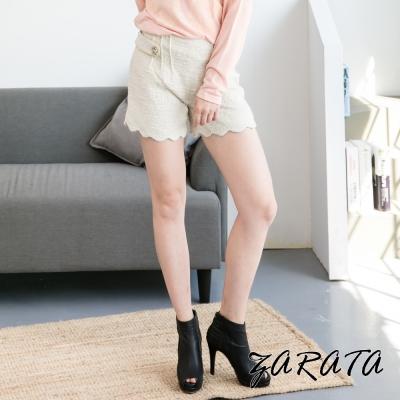 小香風金扣下擺波浪紋短褲-杏色-ZARATA