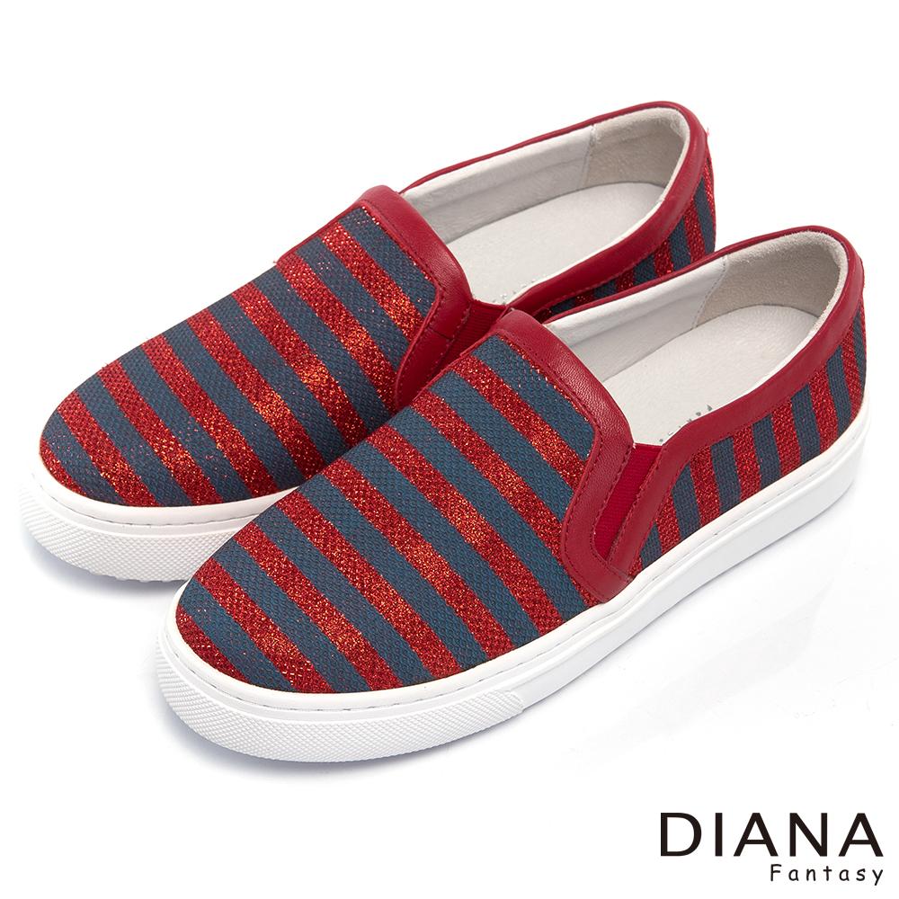 DIANA經典雙色條紋懶人厚底鞋-百搭原色-紅