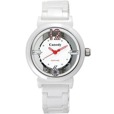 Canody 浮雕時尚 雙鏤空晶鑽陶瓷腕錶-白x紅指針/35mm
