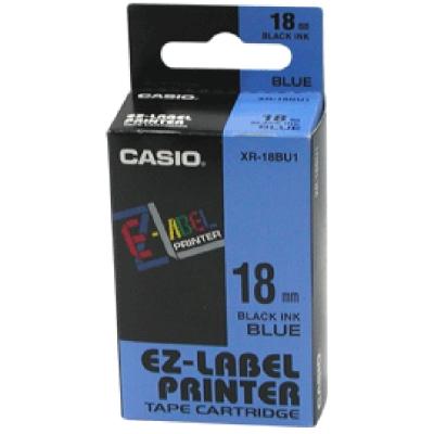 CASIO XR-18BU1藍底黑字標籤帶18m/m×8M