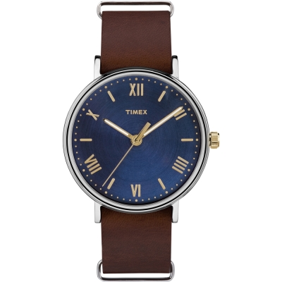 TIMEX 天美時 風格系列 羅馬字手錶-藍x咖啡/41mm