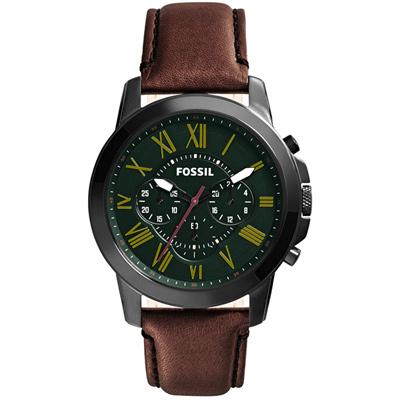 FOSSIL 古典伯爵三環計時腕錶-綠/44mm