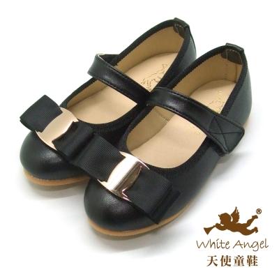 天使童鞋 J801 法式時尚公主鞋 (中-大童)-黑