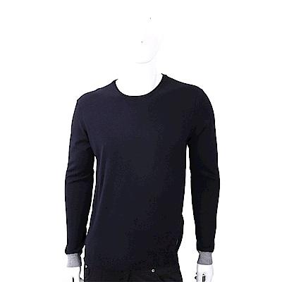 TRUSSARDI 撞色細節皮革標深藍色針織衫