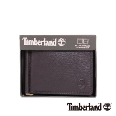 Timberland 男女款高級深咖啡色牛皮短款錢夾錢包