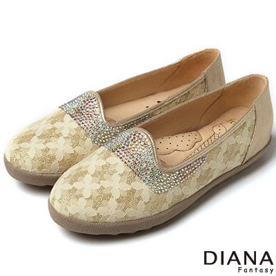 DIANA-超厚切冰淇淋款-法式蕾絲水鑽平底鞋-金