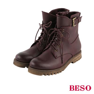 BESO 街頭率性 復古刷色輕量馬汀綁帶靴~酒紅