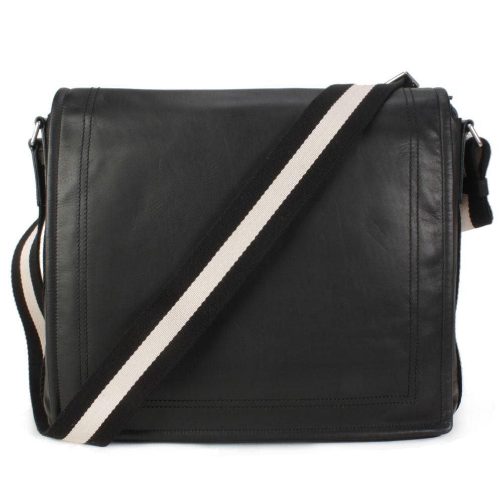BALLY 經典紅白條紋掀蓋拉鍊大斜背包-黑色
