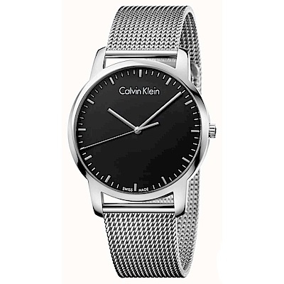 Calvin Klein 極簡品味時尚米蘭帶石英腕錶(K2G2G121)-黑色/43mm