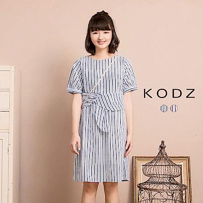東京著衣KODZ酷琪琪聯名休閒條紋設計感棉質洋裝-女-S.M.L(共二色)