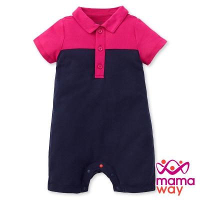 Mamaway Baby POLO 剪接配色平口褲包屁衣(共三色)
