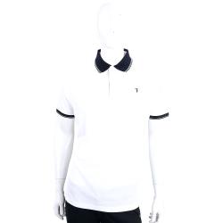 TRUSSARDI JEANS 白色拼接棉質短袖POLO衫