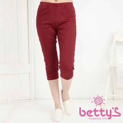 betty-s貝蒂思-口袋小V彈性內搭七分褲-紅色
