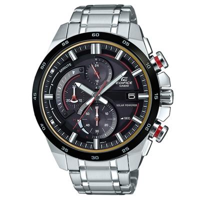 EDIFICE流線速度立體感太陽能計時錶(EQS-600DB-1A4)-紅秒針X黑框49mm
