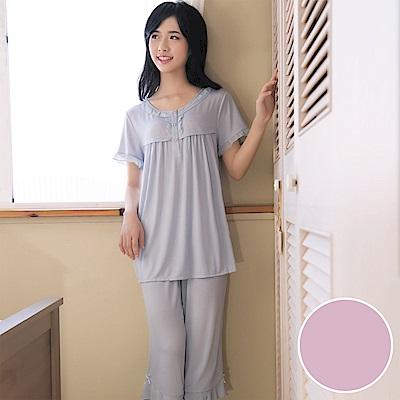 華歌爾 冰涼紗 居家休閒 M-LL 短袖睡衣褲裝(紫粉)