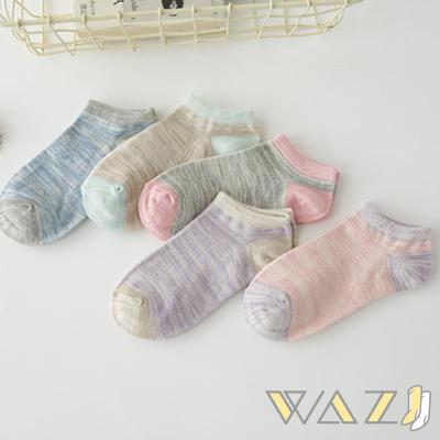 Wazi-小清新蠟筆感踝襪短襪 (1組五入)