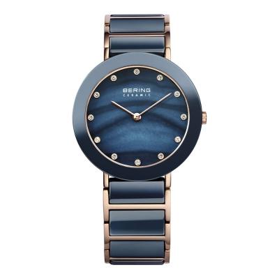 BERING丹麥精品手錶 晶鑽刻度陶瓷錶系列 藍寶石鏡面  北歐藍x玫瑰金35mm