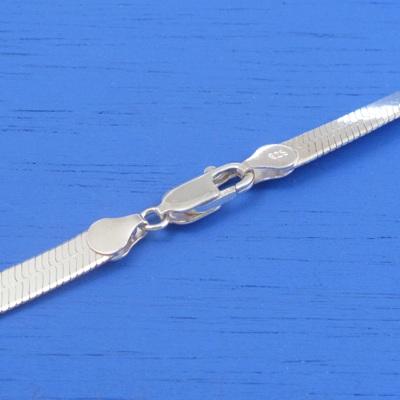 維克維娜 18吋純銀粗版10mm扁蛇鍊。義大利925純銀單鍊
