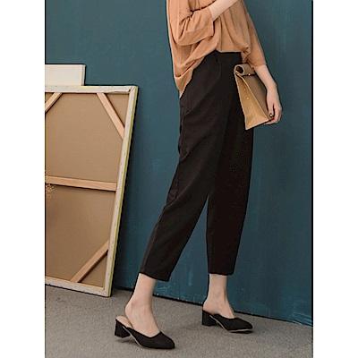 質感素面雙口袋後腰圍鬆緊寬版褲.3色-OB嚴選