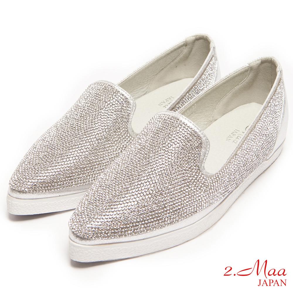 2.Maa-時尚尖頭閃耀水鑽包鞋-白