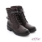 effie 個性美型 防潑水麂皮扣帶綁帶中筒靴 灰色