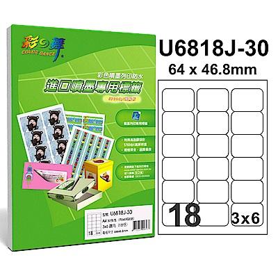 彩之舞【U6818J-30】A4 18格(3x6) 進口噴墨專用標籤紙 120張
