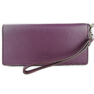 COACH 馬車印紋荔枝皮兩折手掛式長夾(紫)