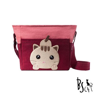 ABS貝斯貓 可愛貓咪拼布 肩背包 斜揹包 (暗紅) 88-206