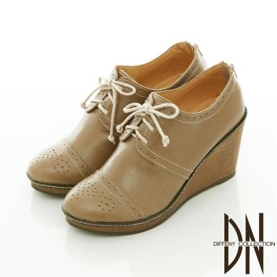 DN 個性學院 英倫質感牛皮綁帶楔型鞋 褐綠
