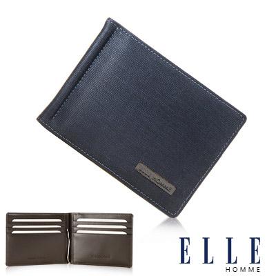 ELLE HOMME 鑽石紋輕巧型6卡鈔票夾設計證件夾- 深藍