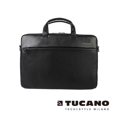 TUCANO Fina Premium MacBook 13吋義大利真皮側背包-黑