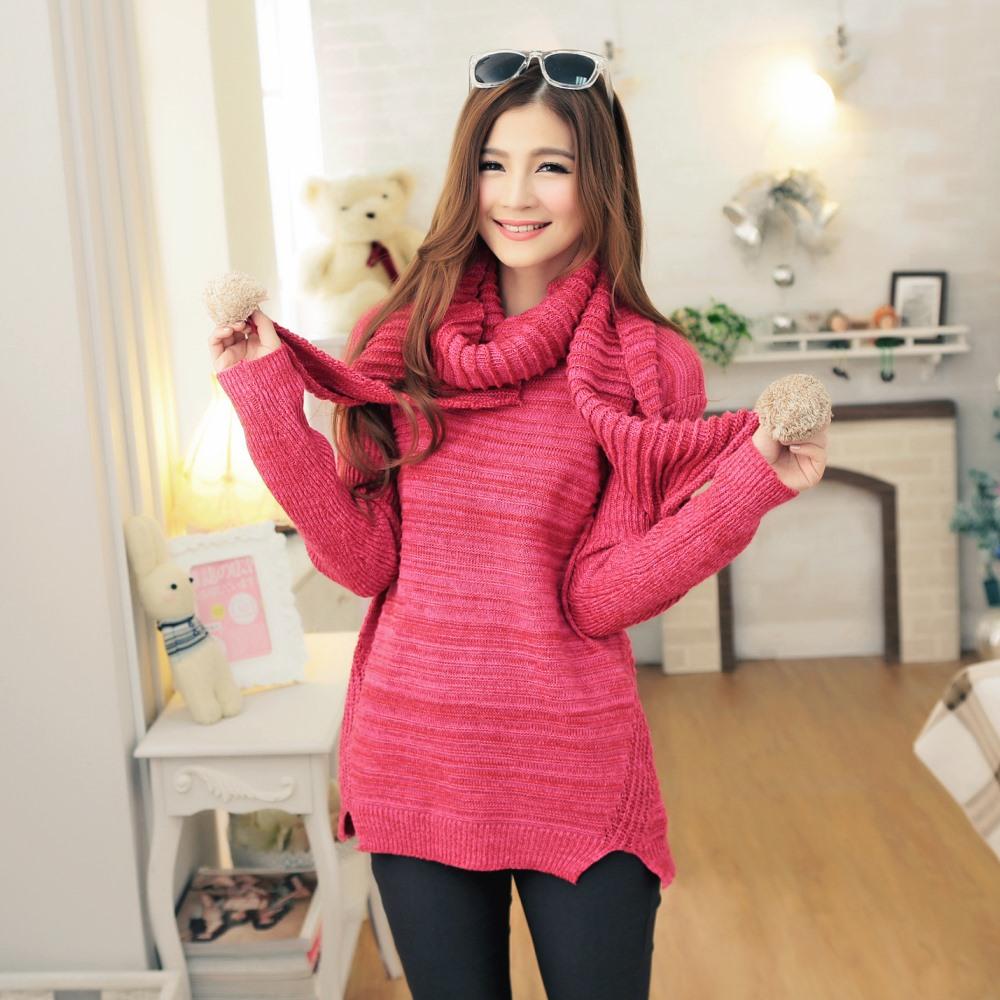 大尺碼 坑條織紋下擺開叉針織長版毛衣+球球圍巾-La Belleza