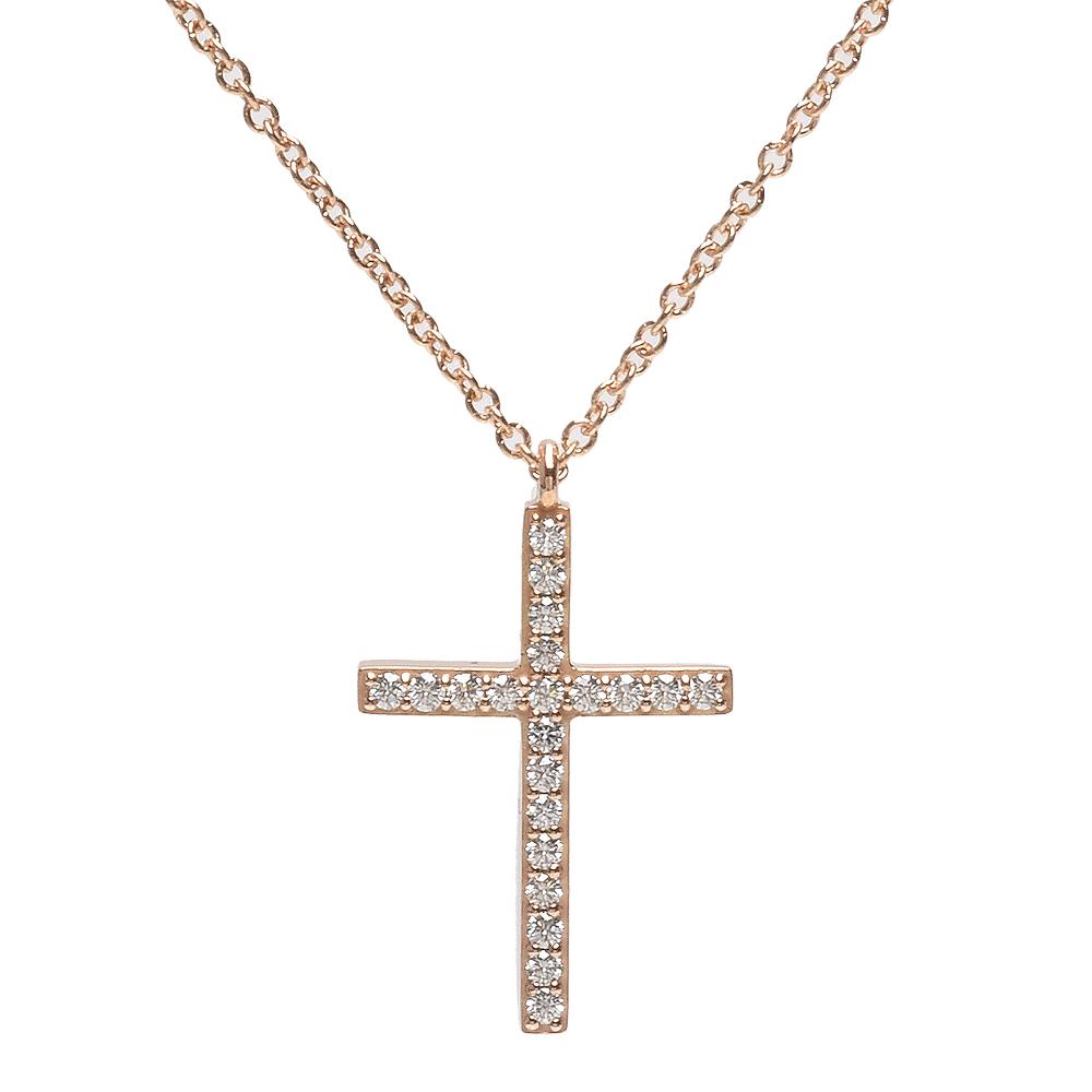 TIFFANY&Co.18K玫瑰金鑽石鑲嵌十字墜飾項鍊玫瑰金
