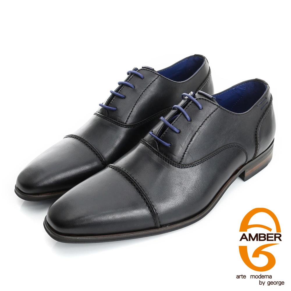 【AMBER】尊榮時尚 葡萄牙進口真皮手工縫線紳士鞋皮鞋(男)-黑色